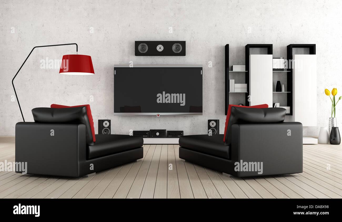 Heimkino Ausstattung home cinema entertainment armchair tv speaker equipment stockfotos