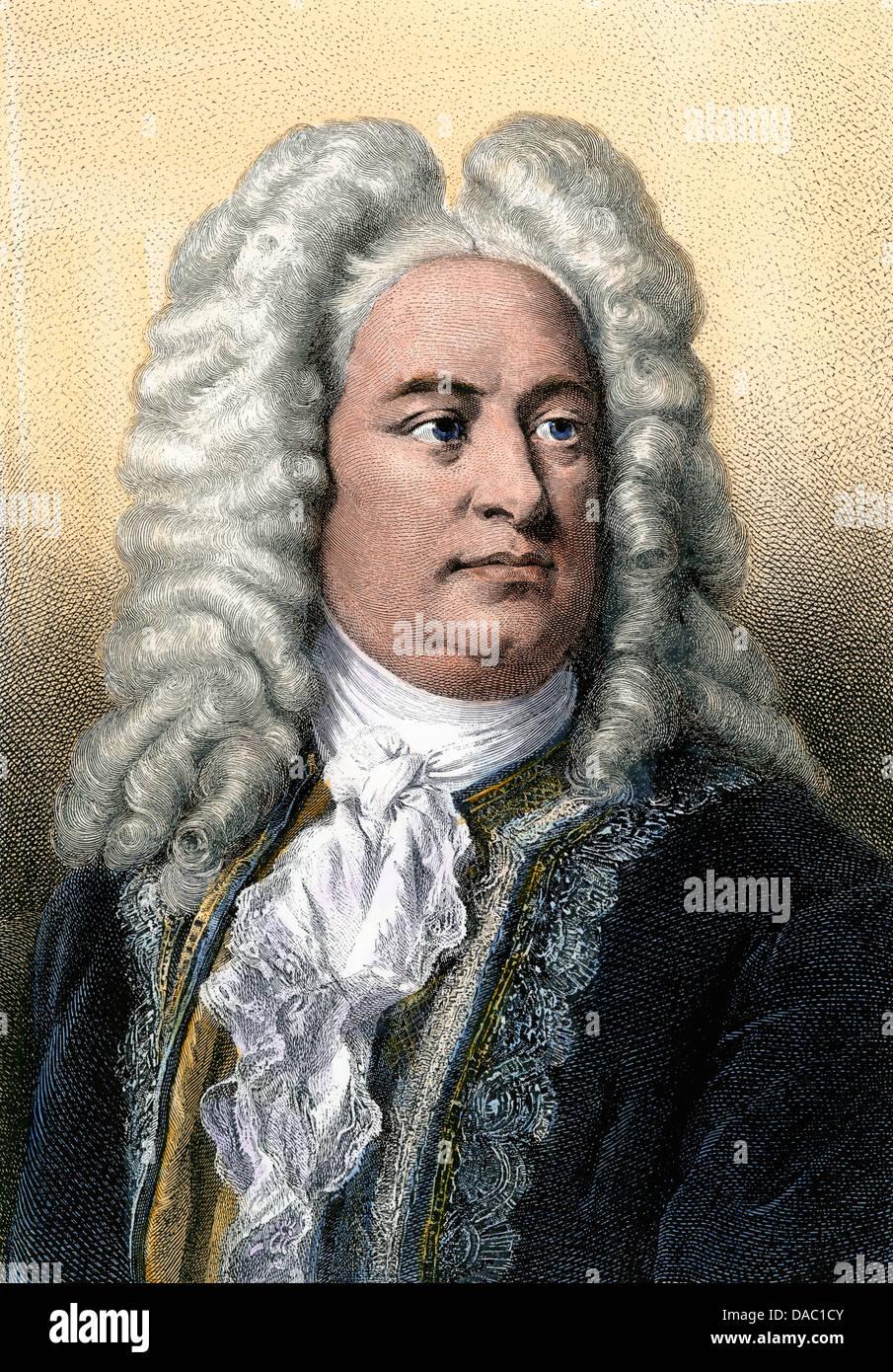 Portrait des Komponisten Georg Friedrich Händel. Hand - farbige Gravur Stockbild