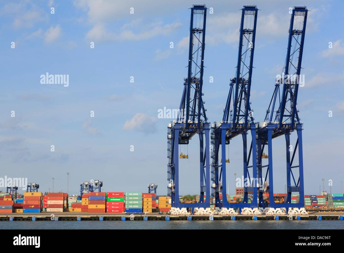 Portal-Krane für das Heben von Containern auf Dockside terminal Kai der größte Containerhafen in Großbritannien. Felixstowe Suffolk England UK Stockfoto