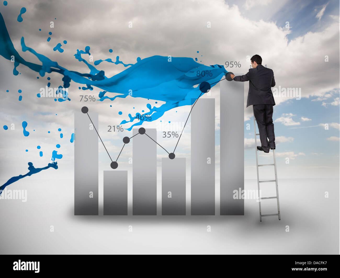 Zeichnen ein Diagramm neben Farbe Splash Geschäftsmann Stockfoto ...