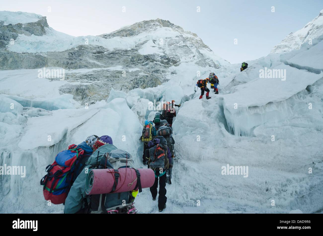 Der Khumbu-Eisbruch auf Mount Everest Solu Khumbu-Everest-Region, Sagarmatha National Park, UNESCO Website, Nepal Stockbild