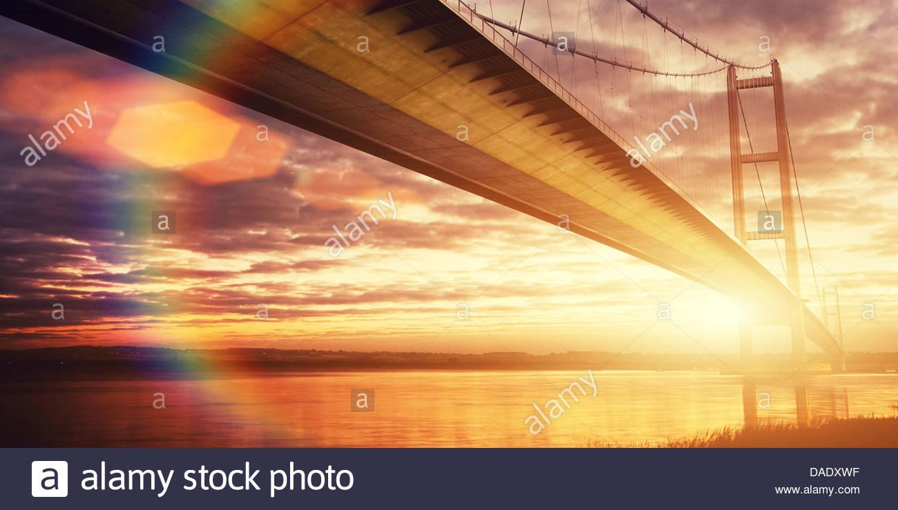 Goldene Stunde Humber bridge Stockbild