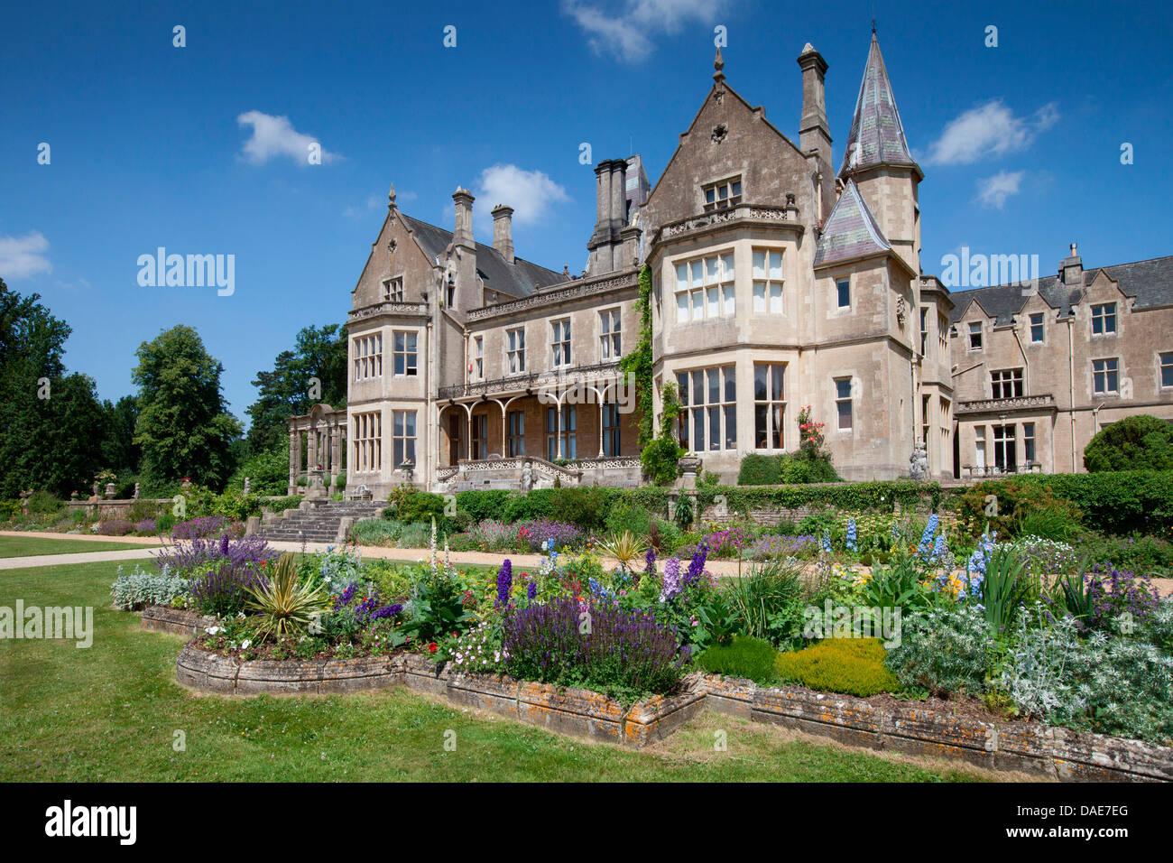 Englisch, Britisch, Landschaft, Park, Gärten, Orchardleigh Haus, Frome, Bath, Somerset, Süd-West, England, Stockbild