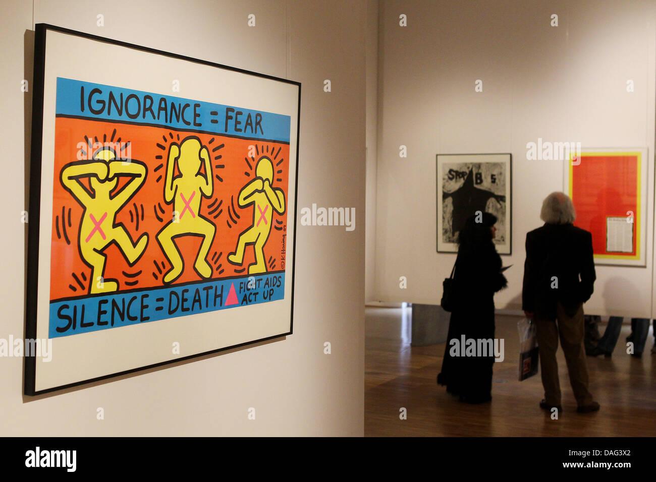Keith Haring Art Exhibition Stockfotos Keith Haring Art Exhibition