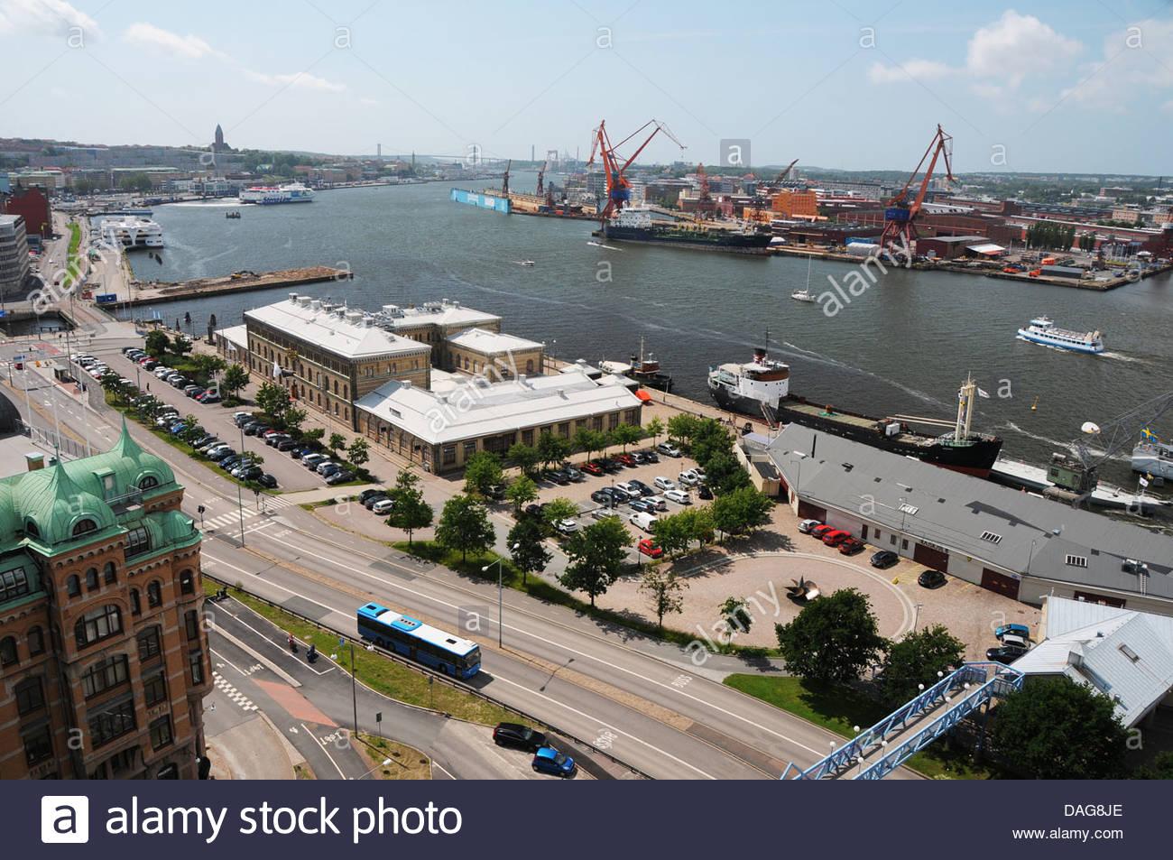 Übersicht der Passagier Fähren und Schiffe im Hafen von Gothhenburg oder Göteborg an der schwedischen Stockbild