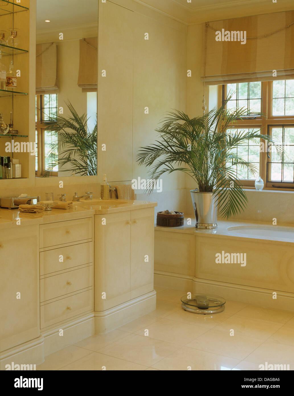 Eingemachte Palm auf der Seite das Bad in Marmor Badezimmer mit ...