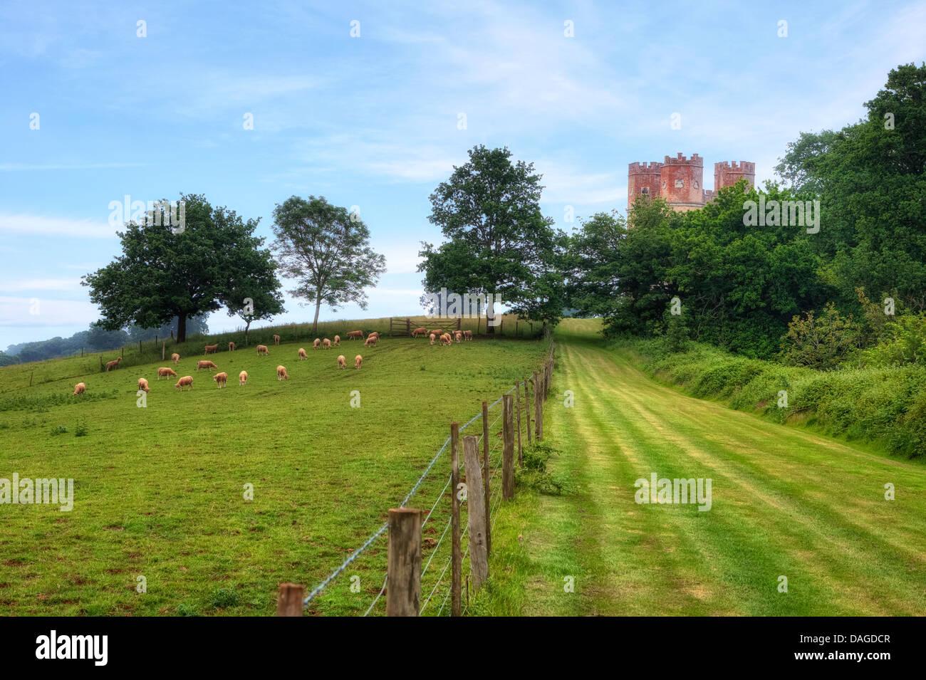 Powderham Castle, Belvedere Tower, Devon, Vereinigtes Königreich Stockbild