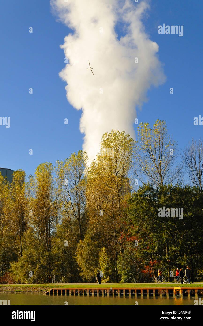 Dampf-Wolke eines Kraftwerks eingekreist durch ein Segelflugzeug, Deutschland Stockbild