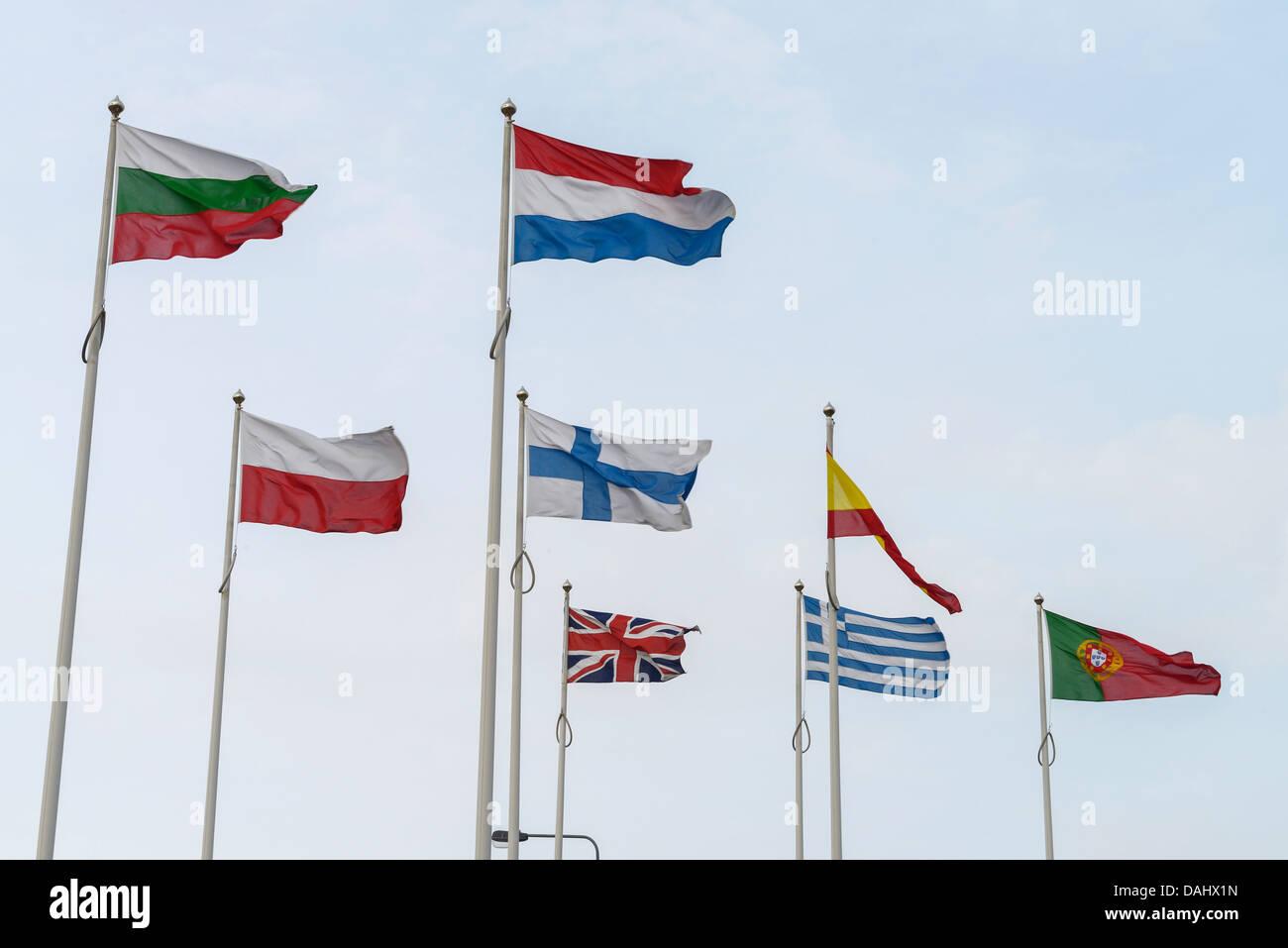 Die Flaggen der europäischen Länder Stockfoto