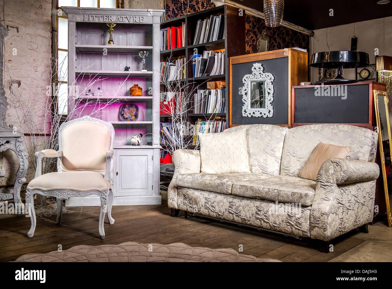 Vintage Interieur Wohnzimmer Stockfoto, Bild: 58177199 - Alamy