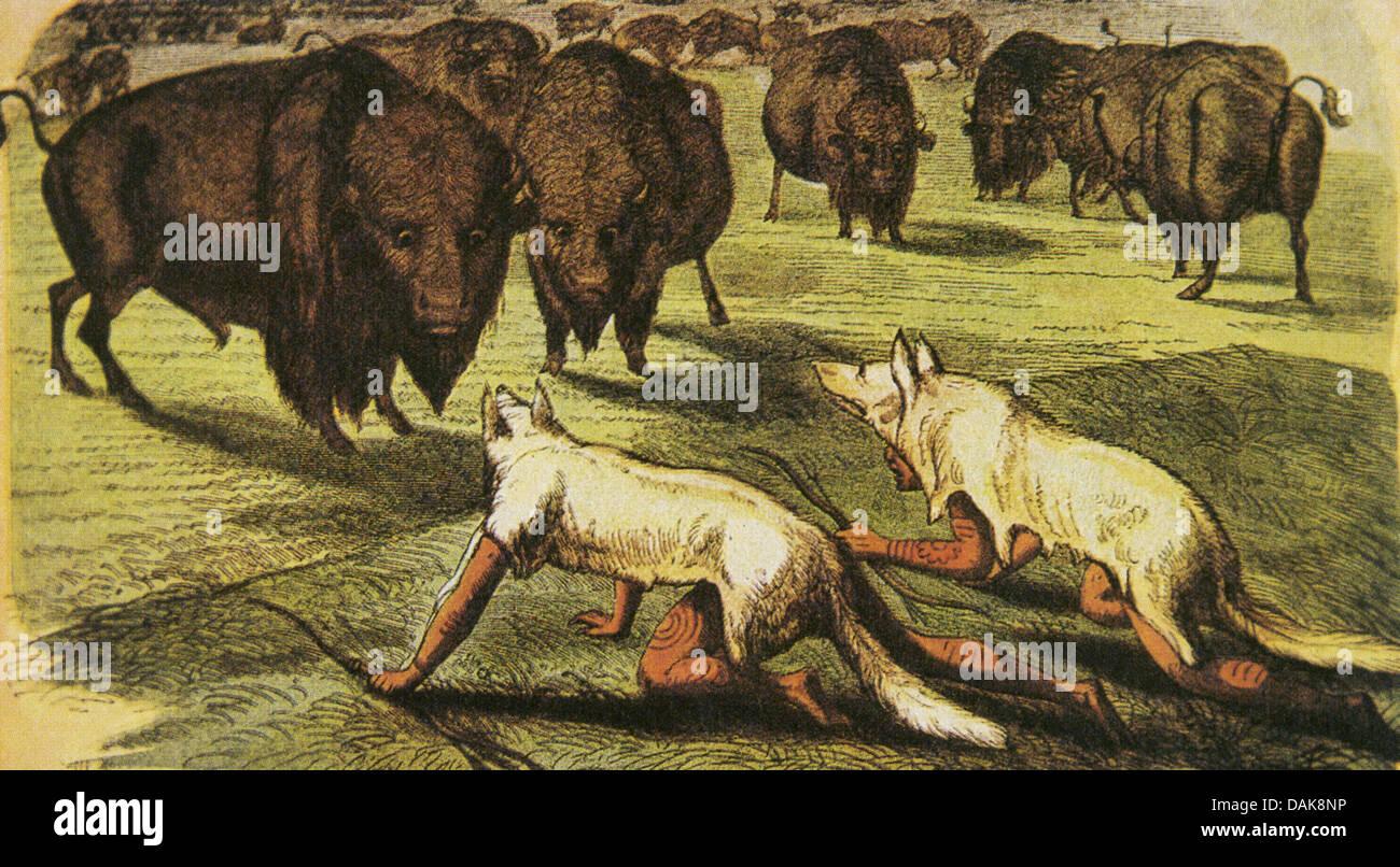 siouxindianer in wolf skins auf ein gem228lde von george