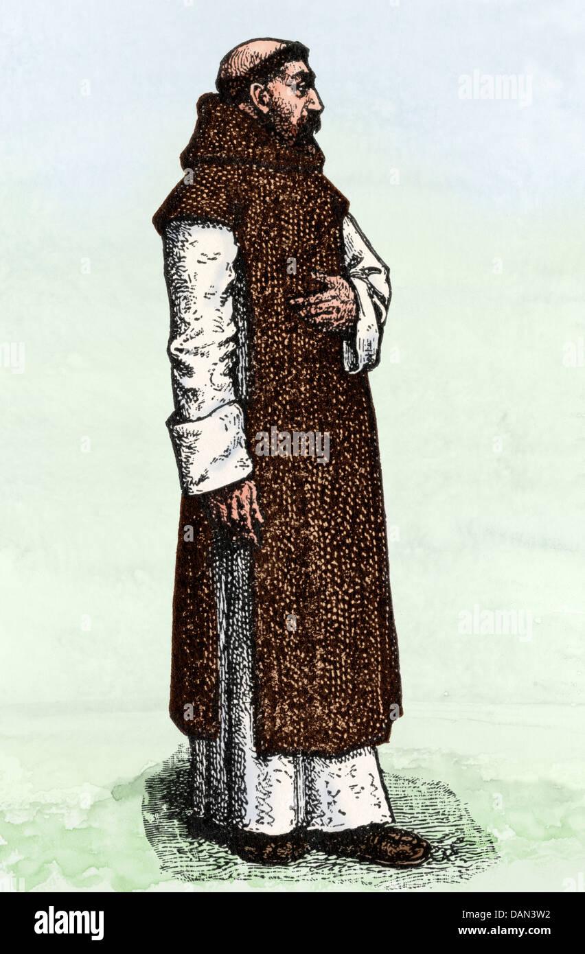 Der hl. Augustinus von Canterbury. Digital farbige Holzschnitt Stockbild