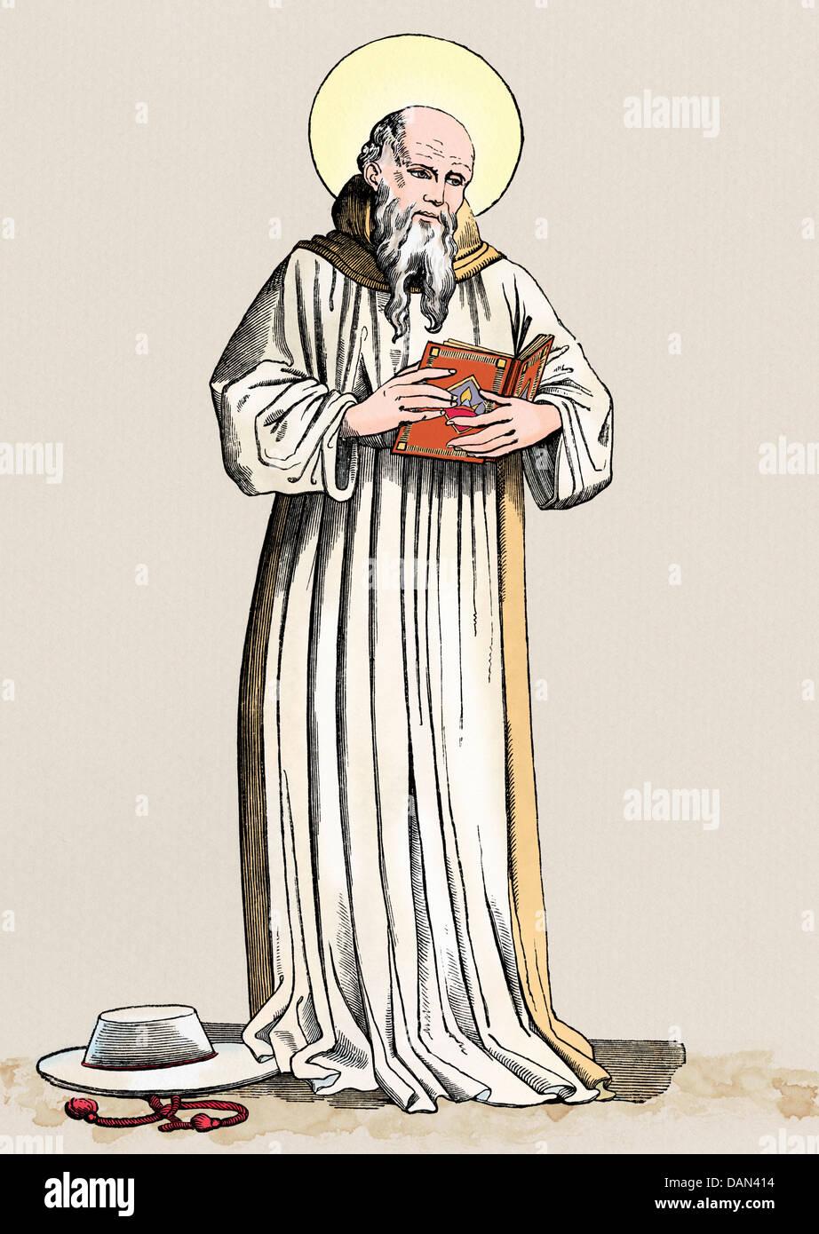 Der hl. Bonaventura, Prälat des Seraphischen bestellen. Digital farbige Holzschnitt Stockbild