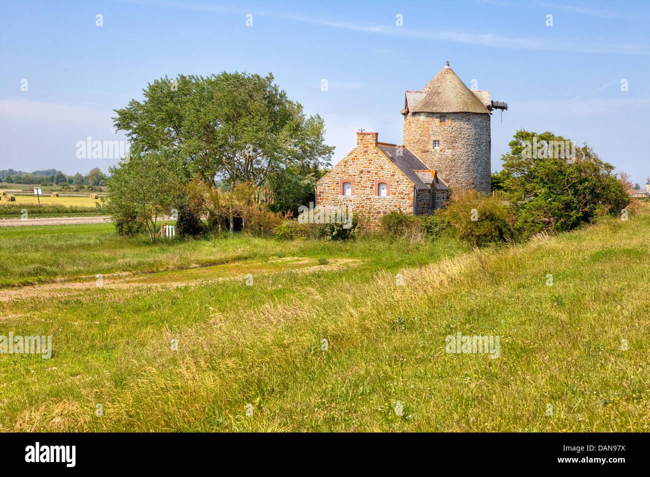 Mühle in Cherrueix, Bretagne, Frankreich Stockbild