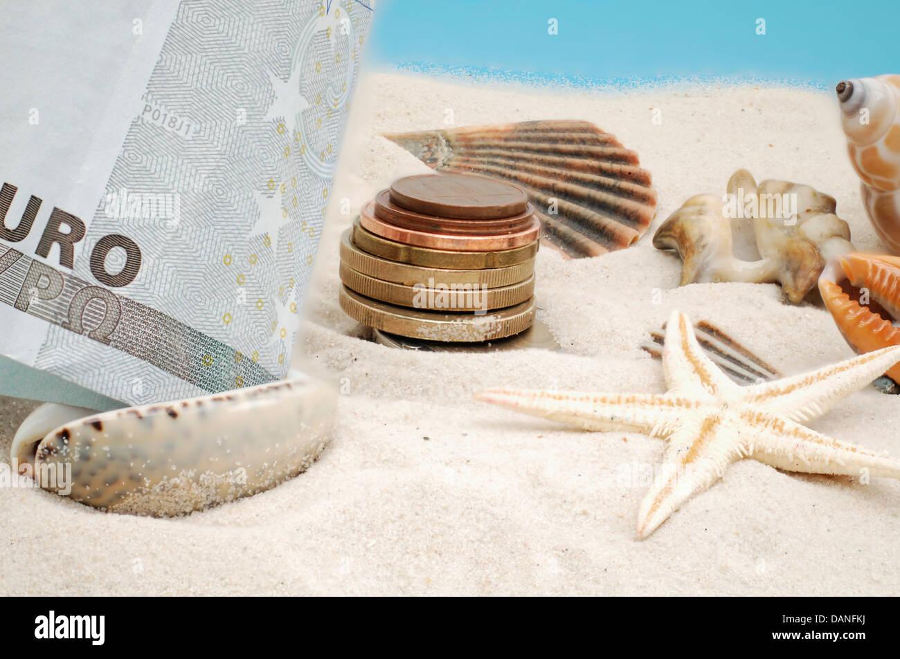 Urlaub am Strand kostet Geld Stockfoto