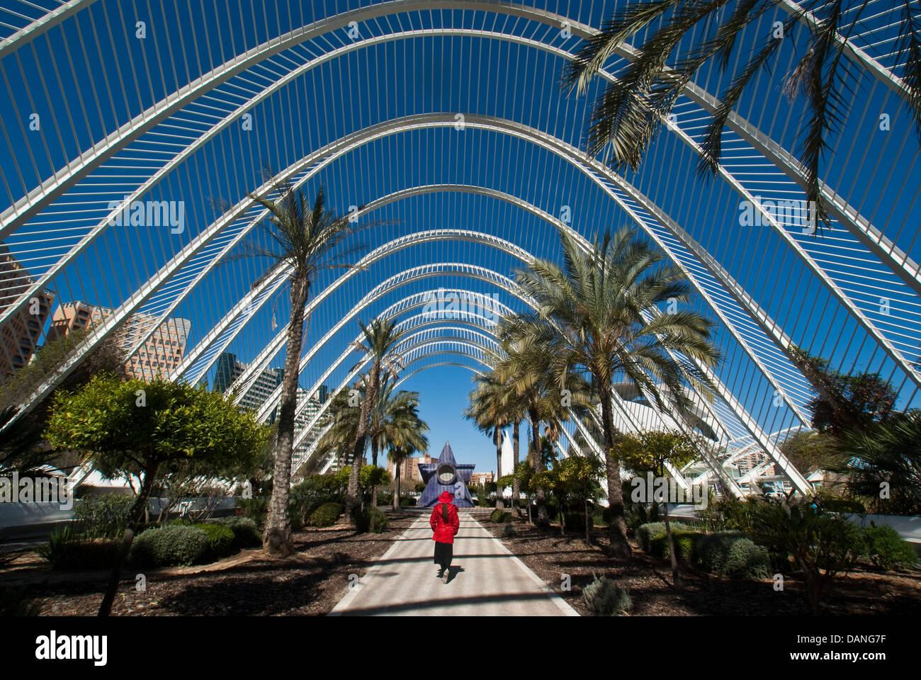 Valencias Stadt der Künste und Wissenschaften Umbracle begrünte Esplanade und Ausstellung Zone. Stockbild