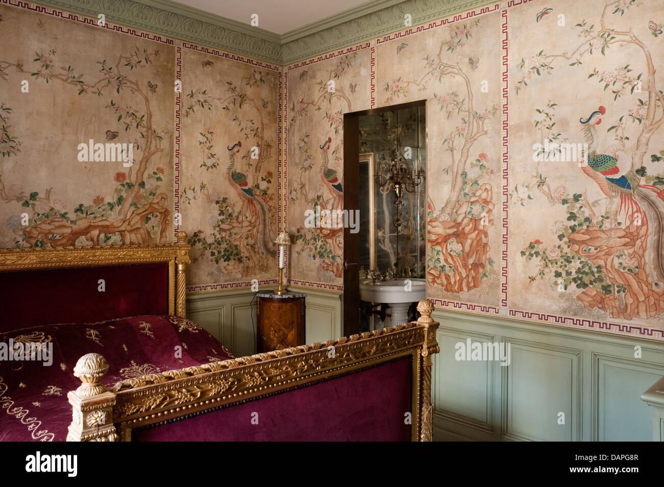 reis-papier gemalt chinesisch wandpaneele in schlafzimmer mit, Schlafzimmer entwurf