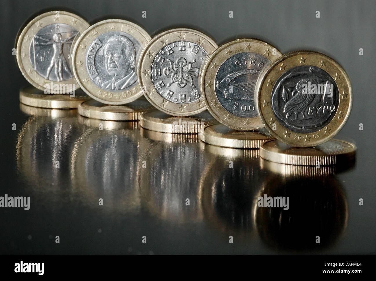 Ein Euro Münzen Aus Italien Spanien Portugal Irland Und