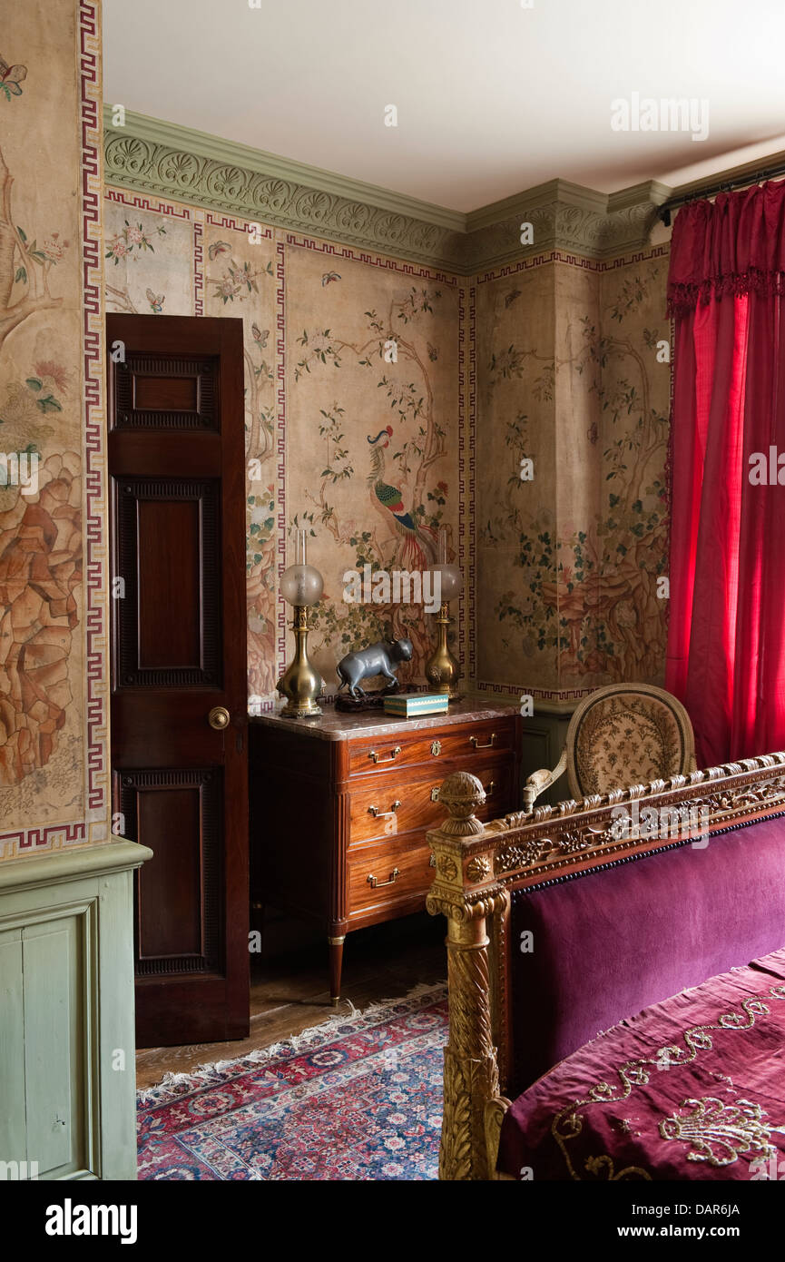 Reis-Papier gemalt Chinesisch Wandpaneele in Schlafzimmer mit ...