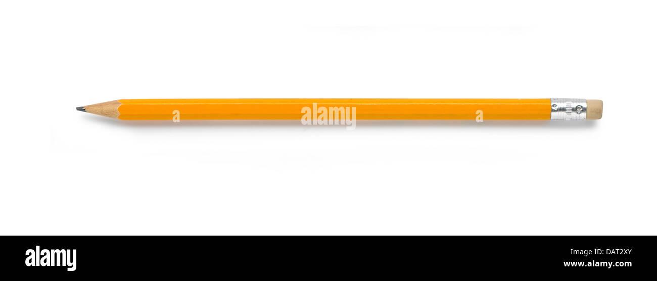 Gelbe Bleistift auf weißem Hintergrund ausschneiden Stockbild