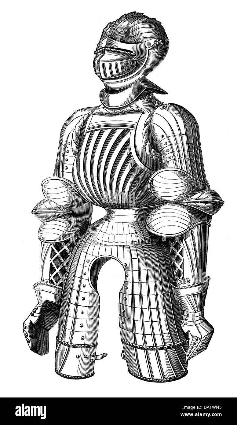 Militär, Mittelalter, Ritter Rüstung, Maximilian Rüstung, 15. Jahrhundert, Holzstich, 19. Jahrhundert, Stockbild