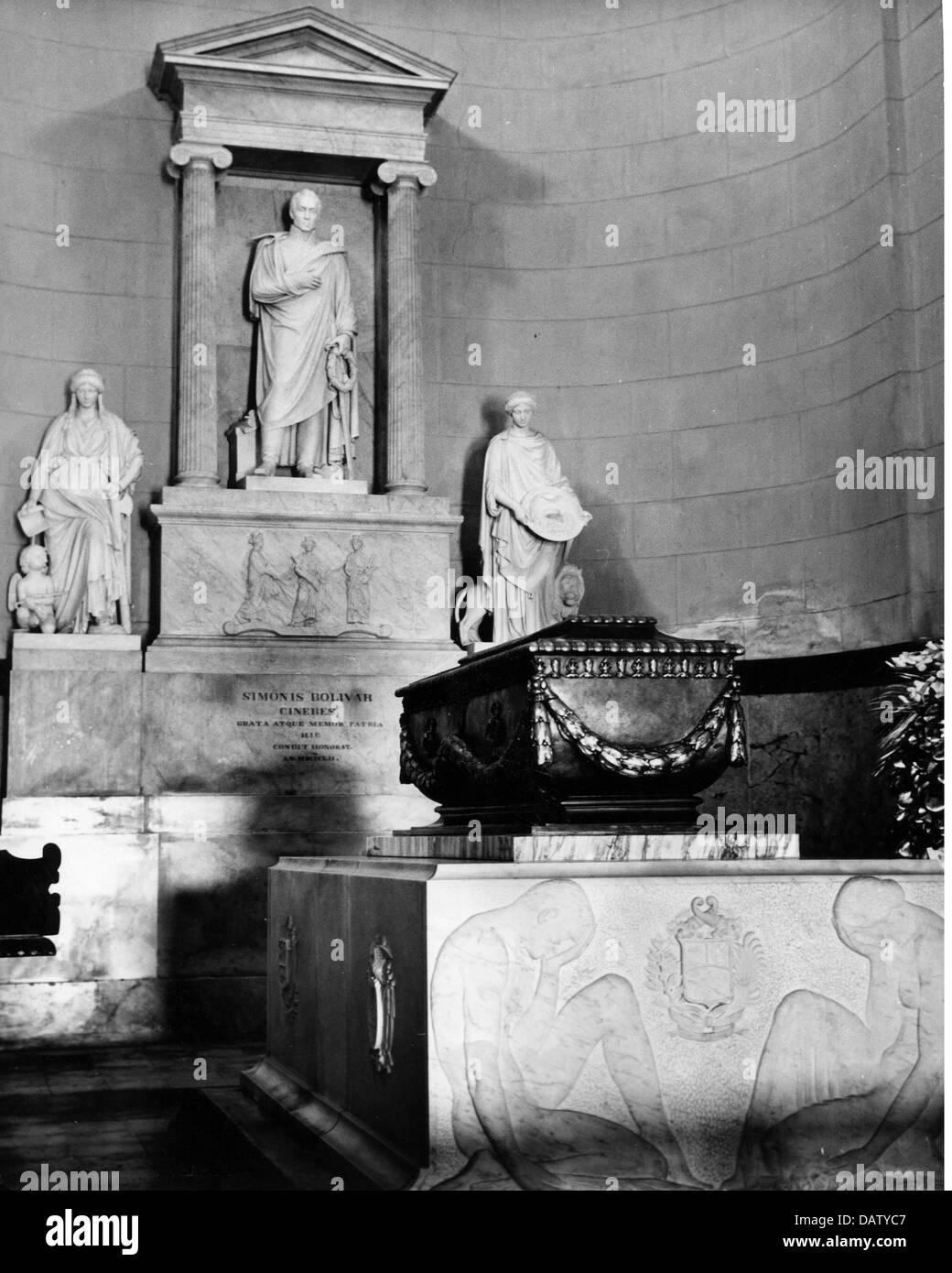 Geographie / Reisen, Venezuela, Caracas, nationalen Pantheon, Innenansicht, Grab von Simon Bolivar, 1950er Jahre, Stockbild