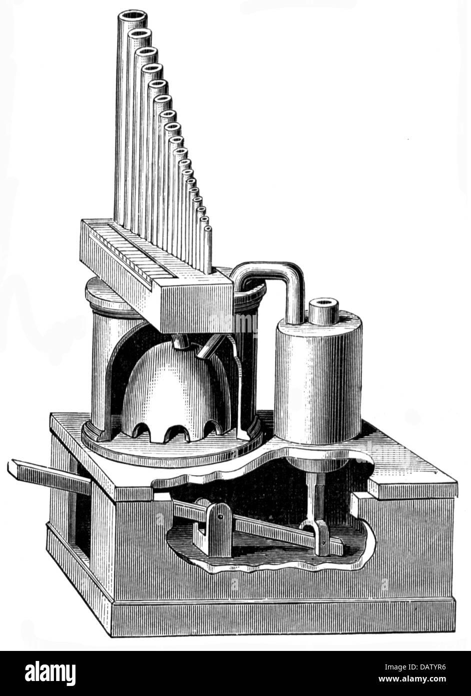 Musik, Instrumente, Tasteninstrument, griechische Wasserorgel, Organon Hydraulikon nach Heron von Alexandria, 1. Stockbild