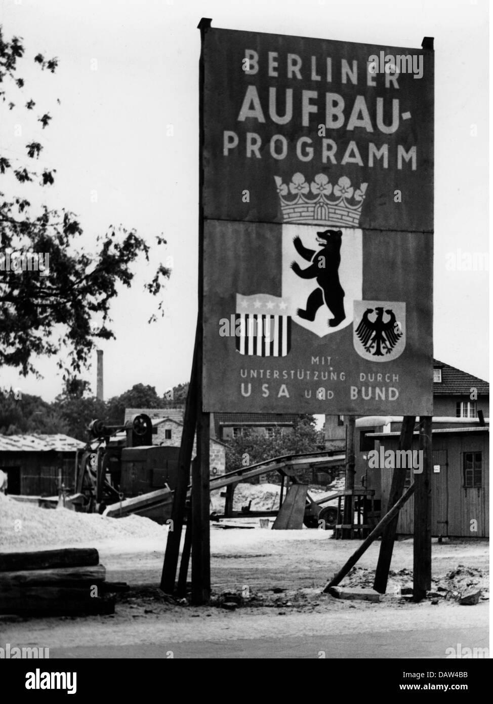 Post-Periode, Wiederaufbau, Deutschland, Berlin, Zeichen, Berlin Bauprogramm mit Hilfe von USA und der Bundesrepublik Stockbild