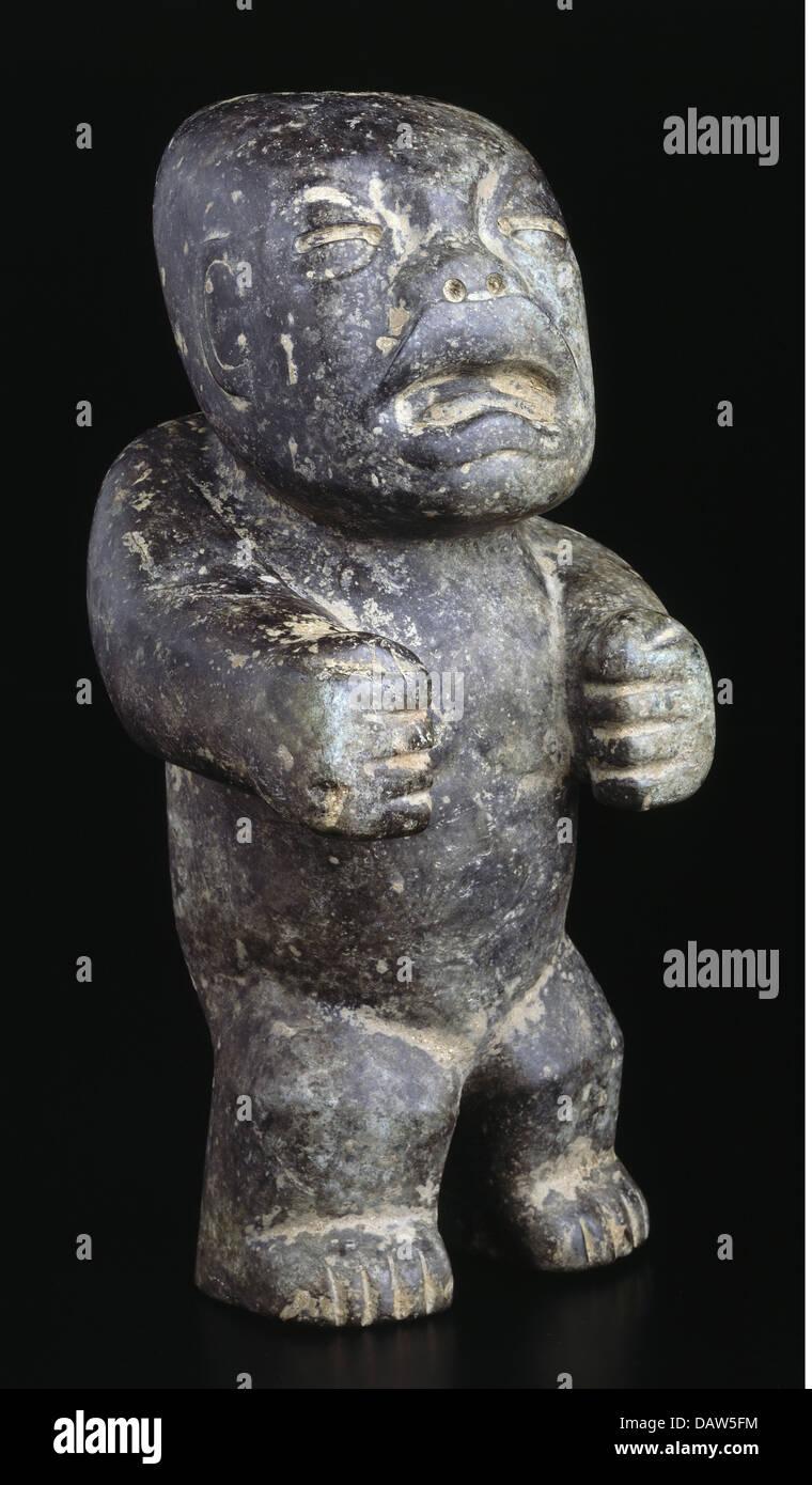 Bildende Kunst, Mesoamerika, Steinfigur unbekannter genaue Herkunft, Mexiko, 1.-9. Jh. n. Chr., Stein, Figur, Stein, Stockbild