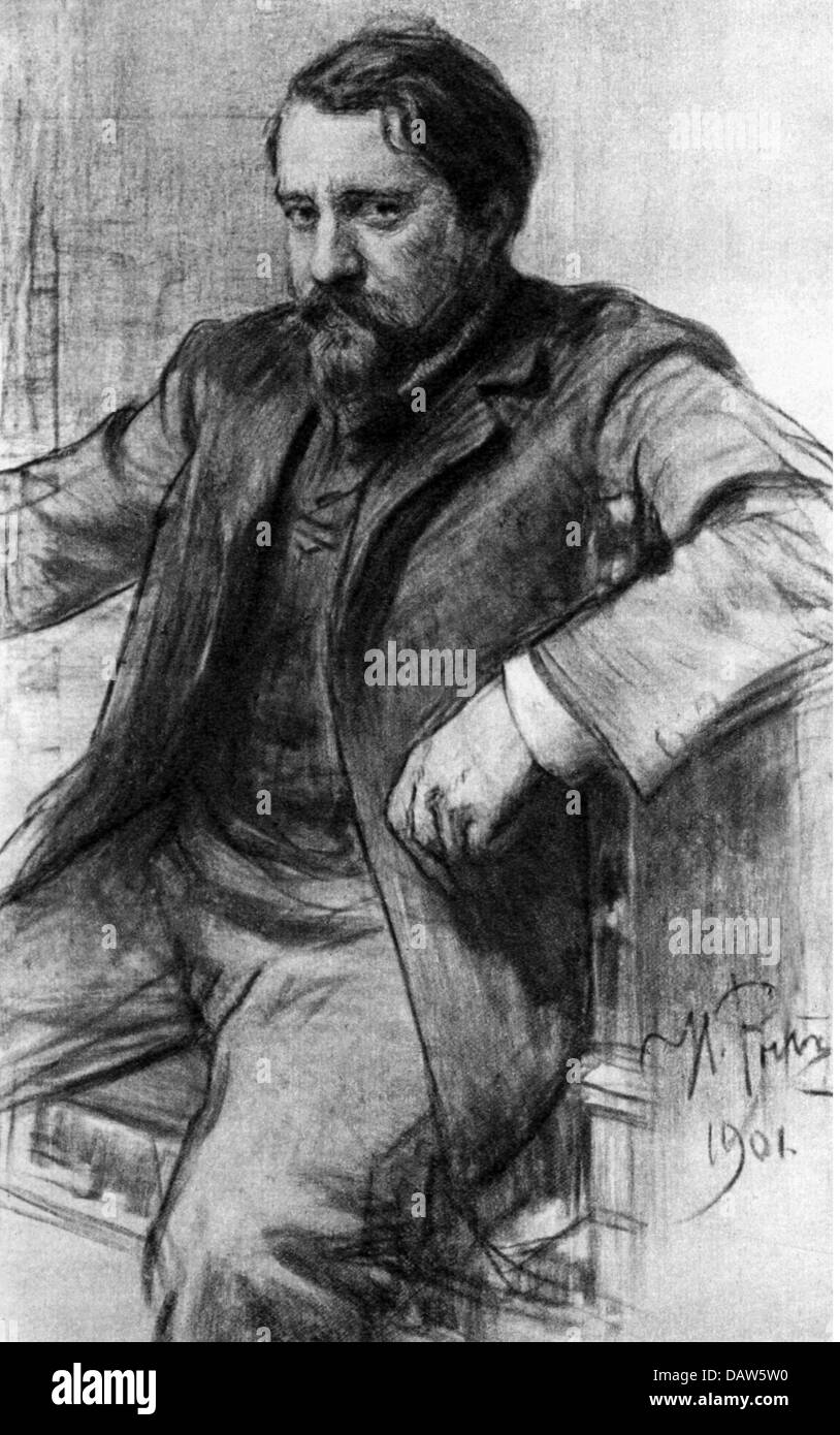 Serov, Valentin Alexandrowitsch, 19.1.1865 - 5.12.1911, russische Künstler (Maler), sitzend, Kohlezeichnung Stockbild