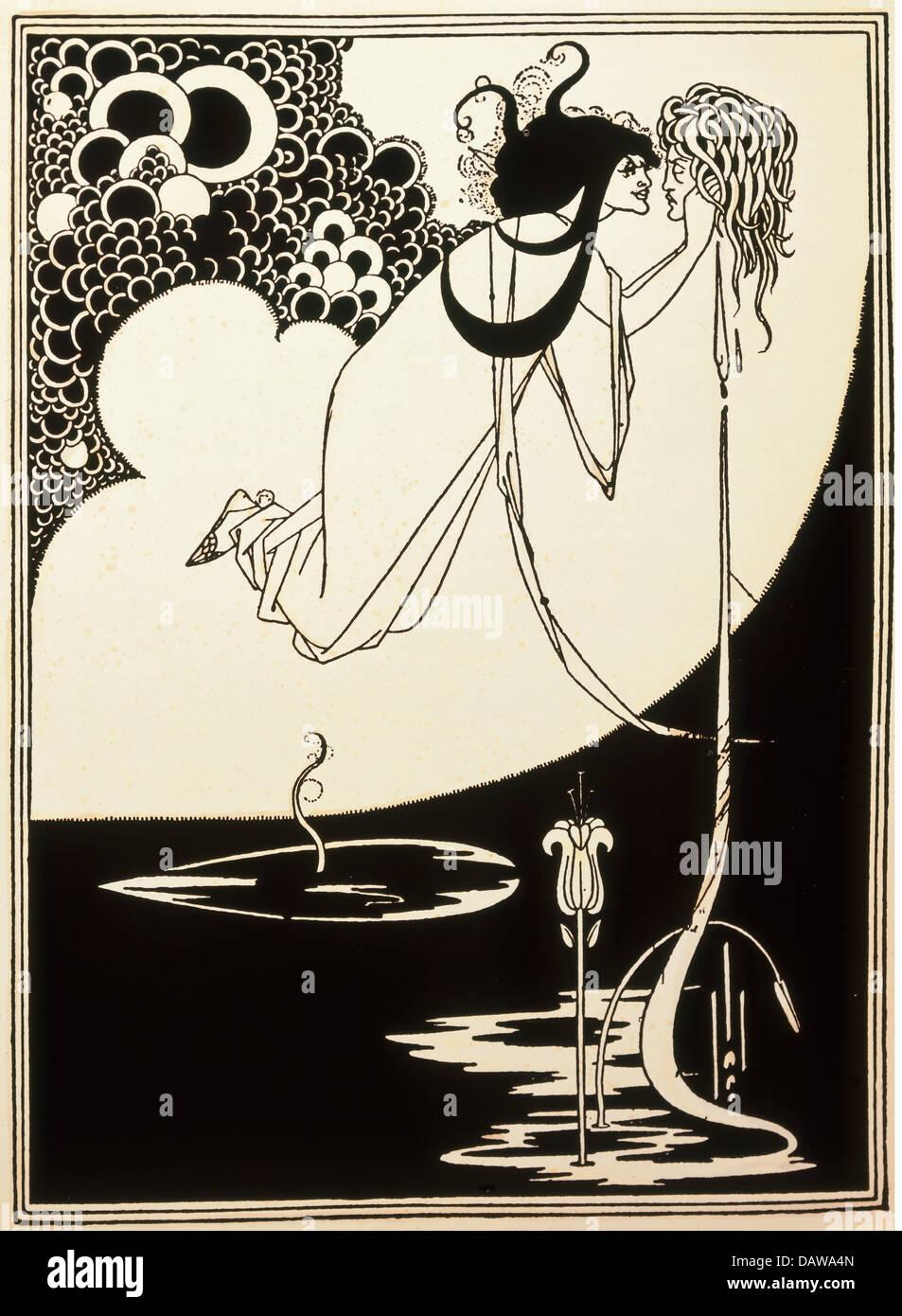 """Bildende Kunst, Beardsley, Aubrey (1872-1898), drucken, """"Die Apotheose"""", Illustration für das Spiel Stockbild"""