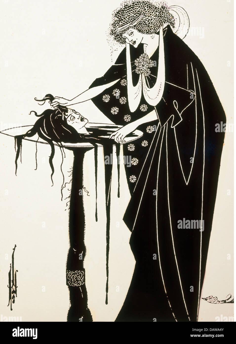"""Bildende Kunst, Beardsley, Aubrey (1872-1898), print, Illustration für das Spiel """"Salome"""" von Oscar Stockbild"""