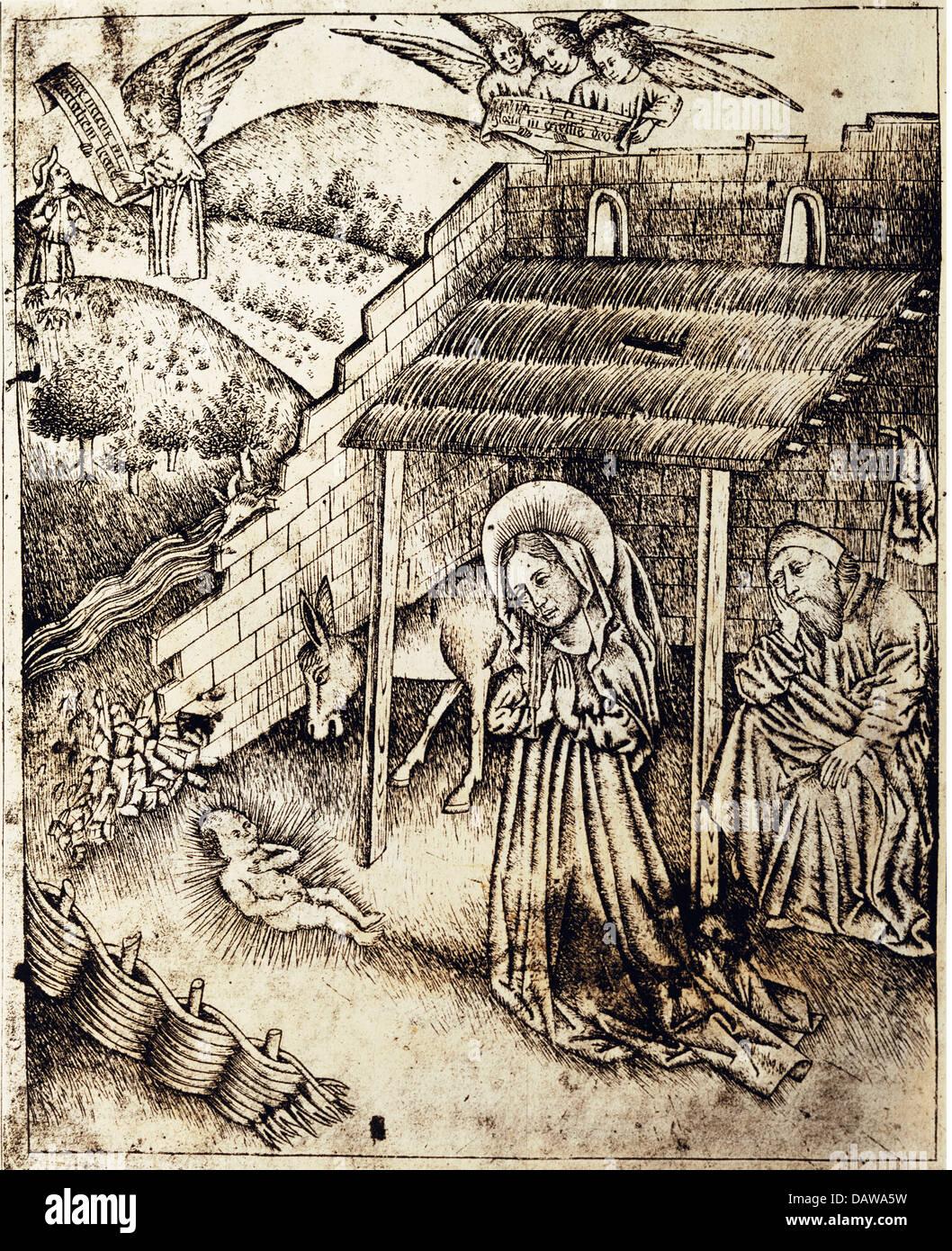 Bildende Kunst, Mittelalter, Drucke, Maria und Josef, das Jesuskind anzubeten Kupfer Kupferstich des Meisters der Stockbild