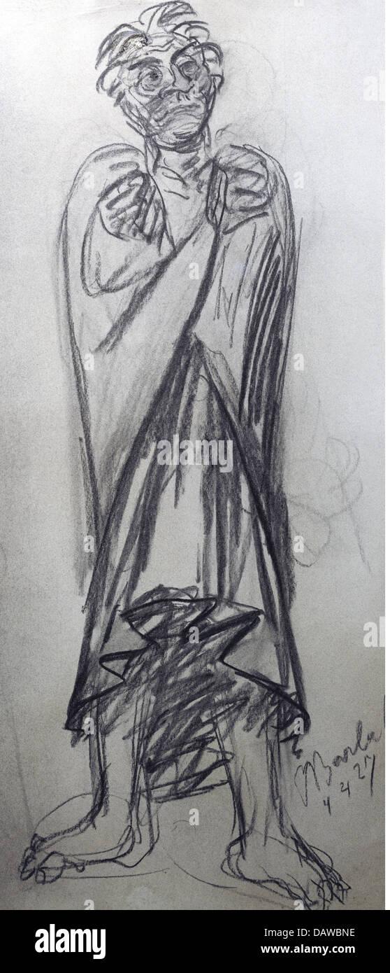 """Bildende Kunst, Barlach, Ernst (1870-1938), Grafik, """"Der Entschlossene"""" (bestimmt), Kohlezeichnung, 65,3 Stockbild"""