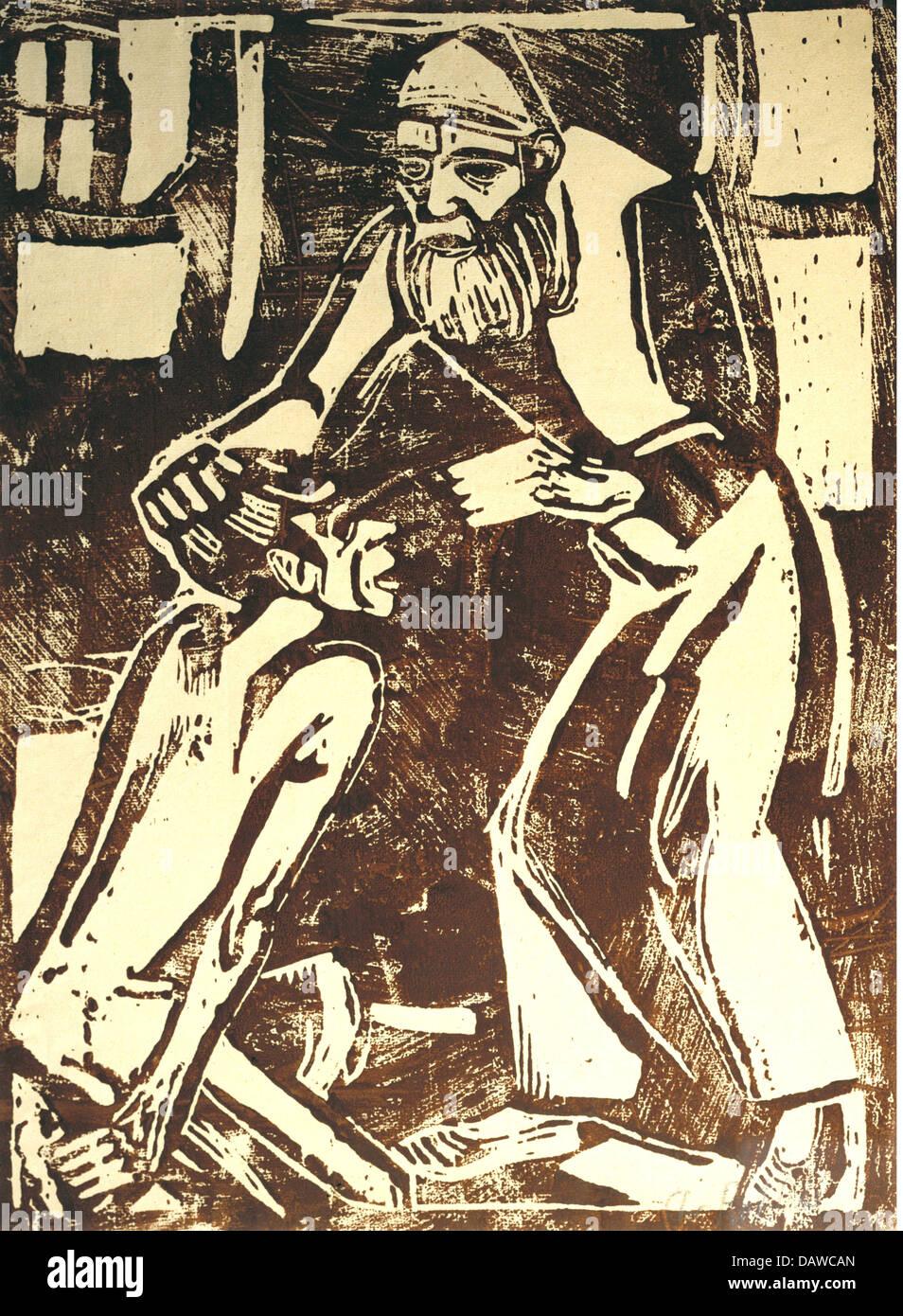 """Bildende Kunst, Rohlfs, Christian (1849-1938), Grafik, """"Rückkehr des verlorenen Sohnes"""", Holzschnitt, Stockbild"""