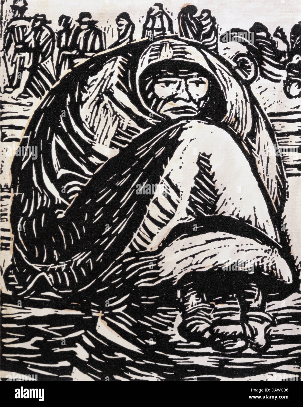 "Bildende Kunst, Barlach, Ernst (1870-1938), Grafik, ""sterben"" Armut """" (not), Holzschnitt, Deutschland, Stockbild"