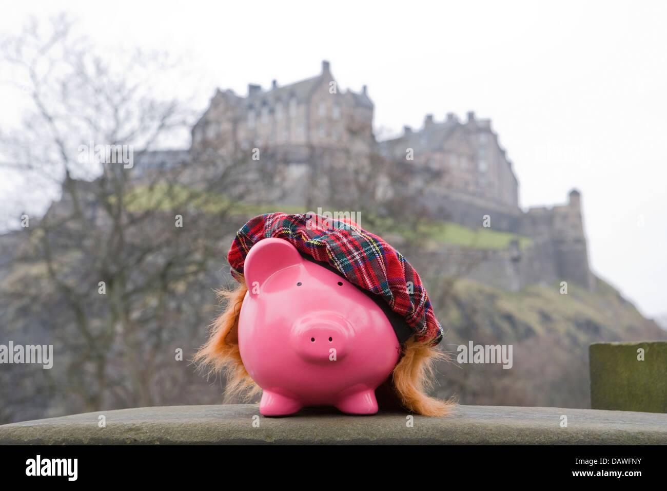 Geld sparen in Edinburgh Stockbild