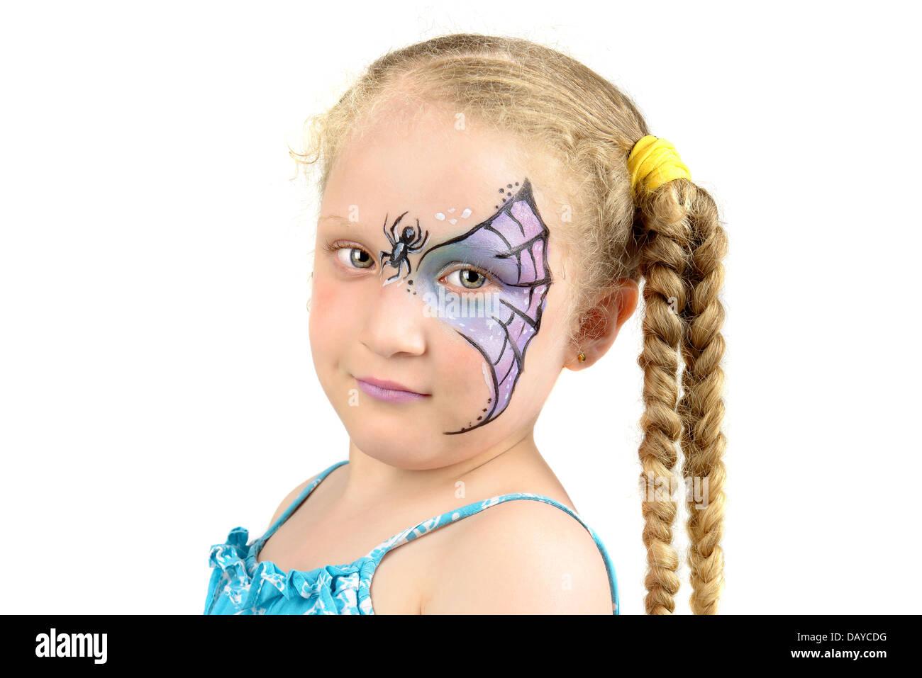 Schöne Junge Mädchen Mit Gesicht Gemalt Mit Einem