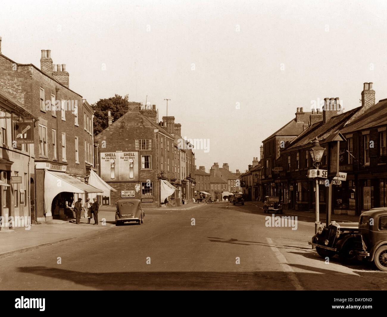 Market Weighton Marktplatz wahrscheinlich 1930/40er Jahre Stockbild
