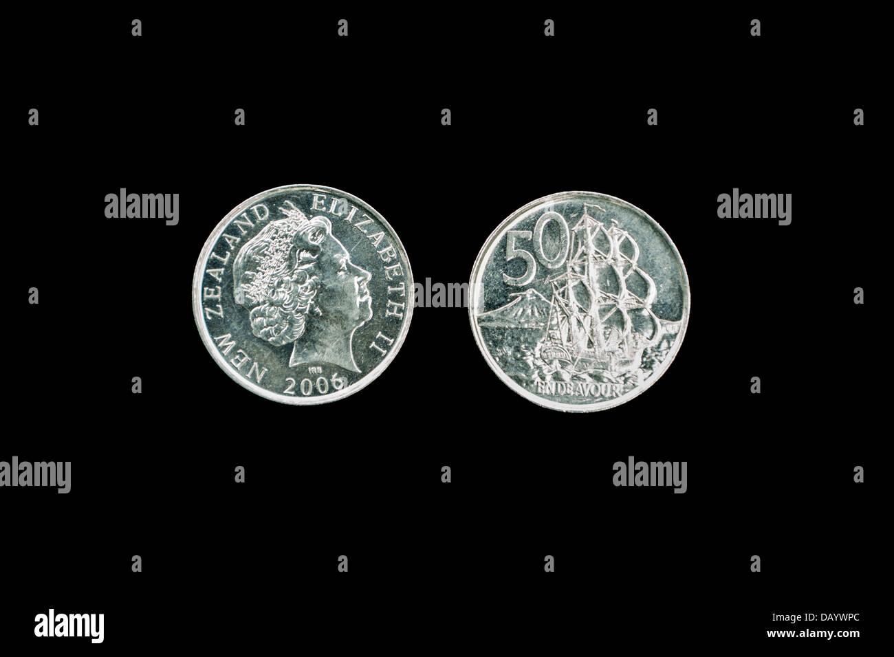 New Zealand Münzen 50 Cent Stück Halb Dollar Königin Elizabeth