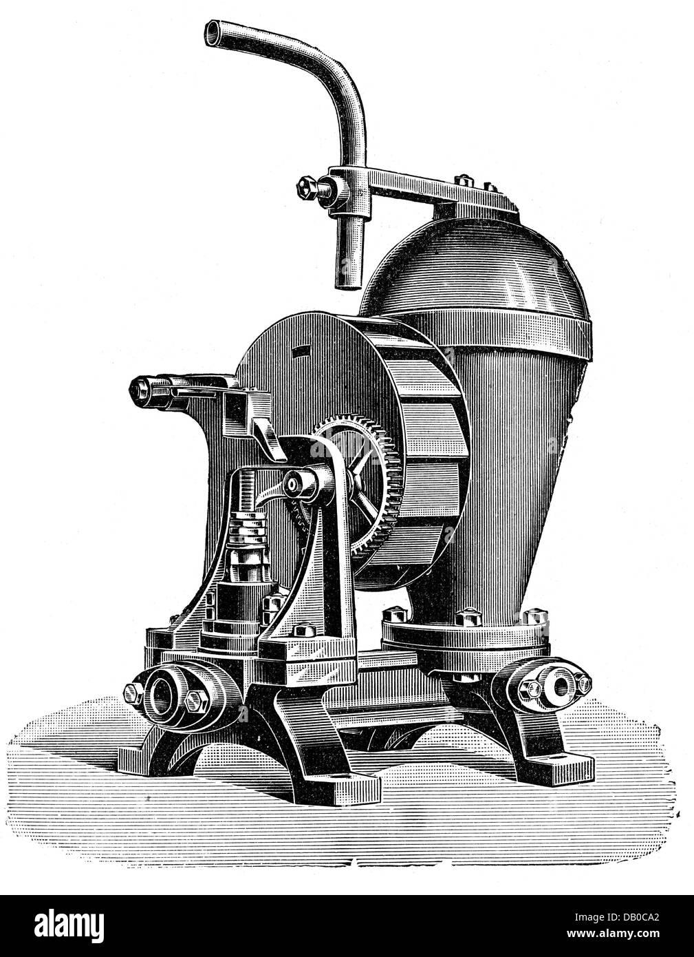Technik, Wasser-Pumpen / Wasserleitungen / Wasserversorgung / Bewässerung, hydraulischer Widder, schematische Stockbild