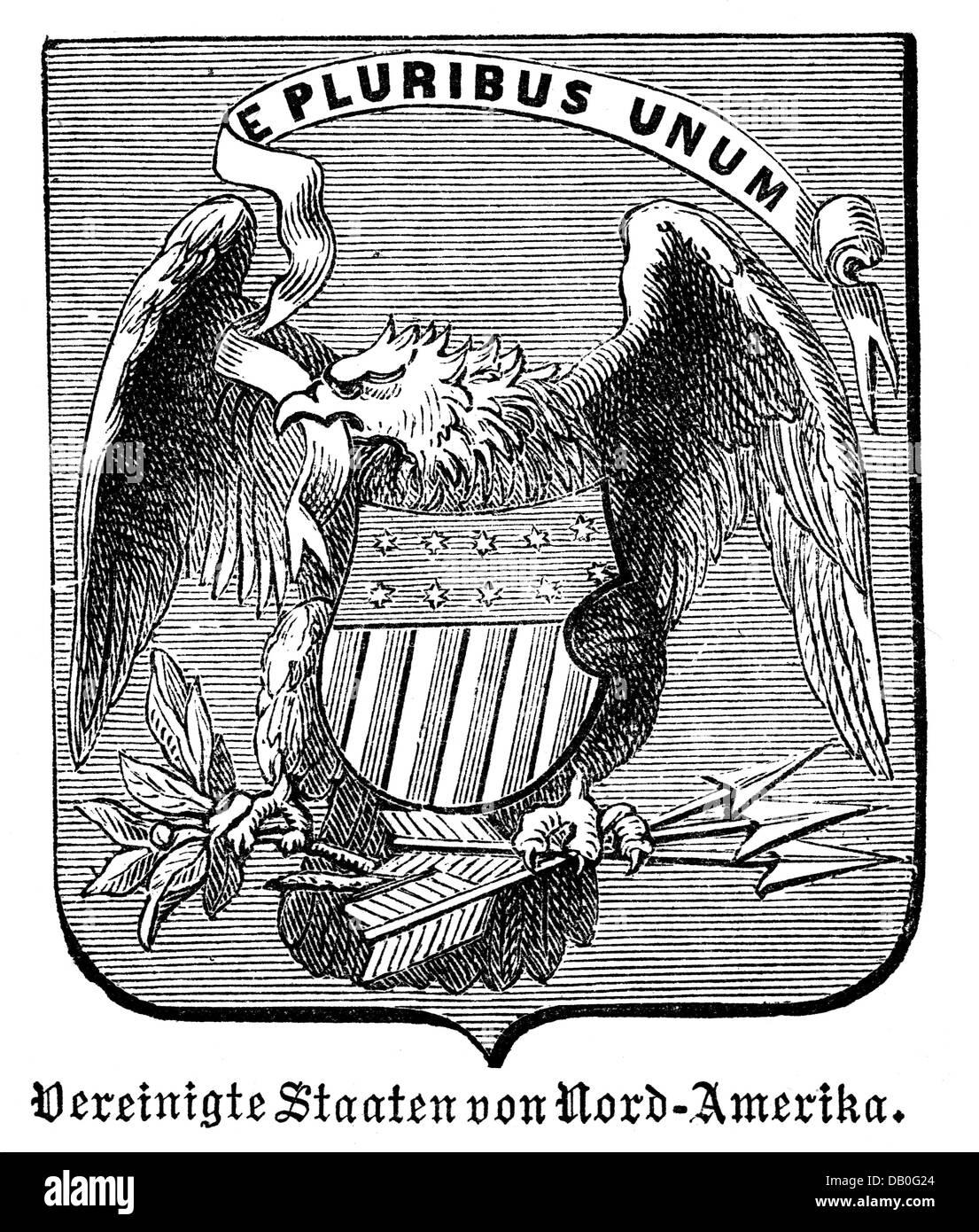 Heraldik, Wappen, USA, Staatswappen der Vereinigten Staaten von Amerika, Holzstich, 1872, Zusatz-Rechte-Clearenzen-nicht lieferbar Stockfoto