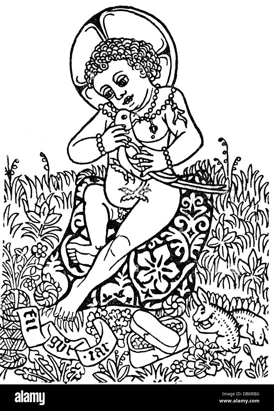 Festlichkeiten, Silvester, einflügelige Drucken, Jesus Kind mit Vogel, Holzstich, 15. Jahrhundert, 15. Jahrhundert, Stockbild