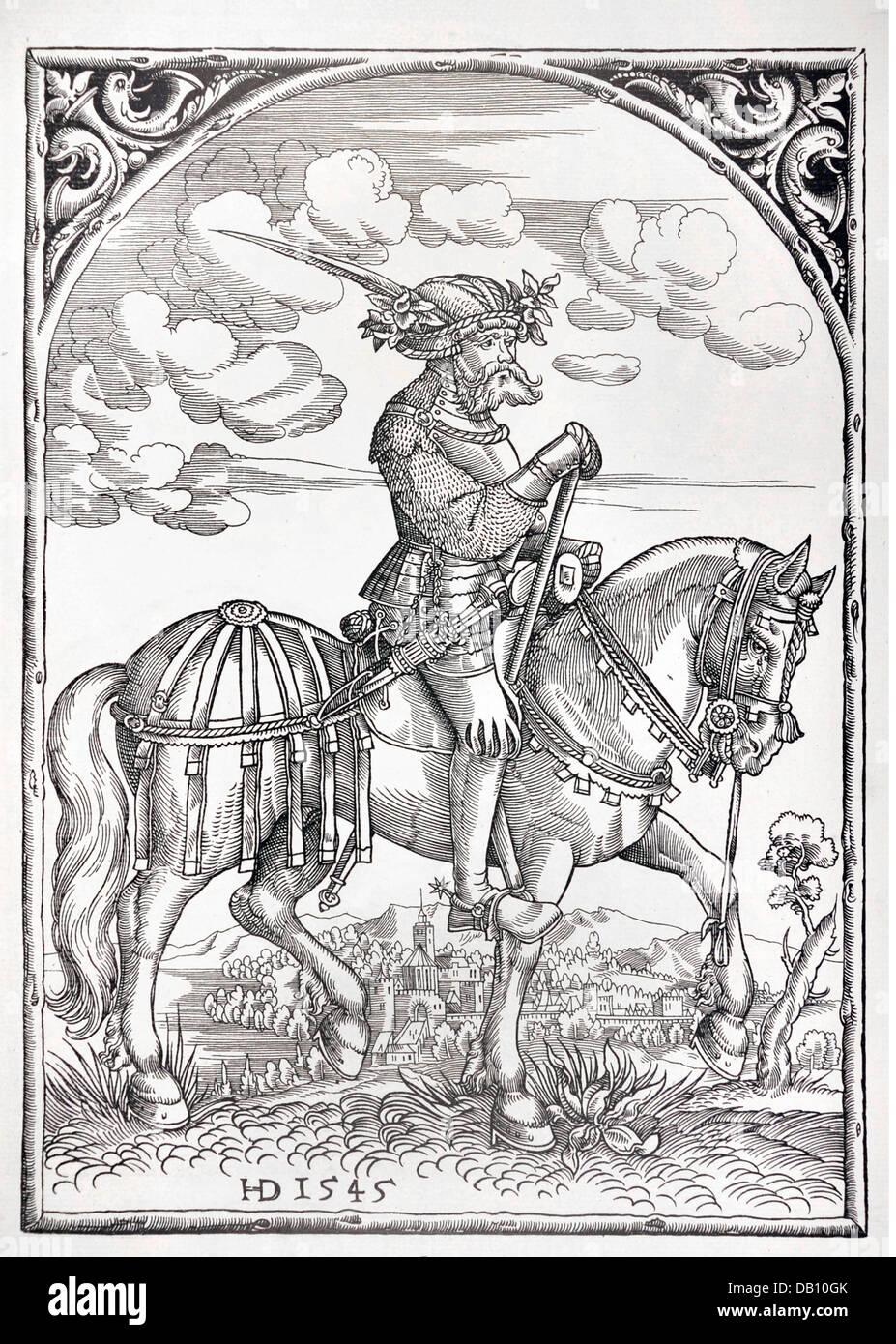 Militär, Landsknechte, Kavallerie watch-Master, volle Länge, auf Pferd, Holzschnitt, H.D., 1545, von: Stockbild