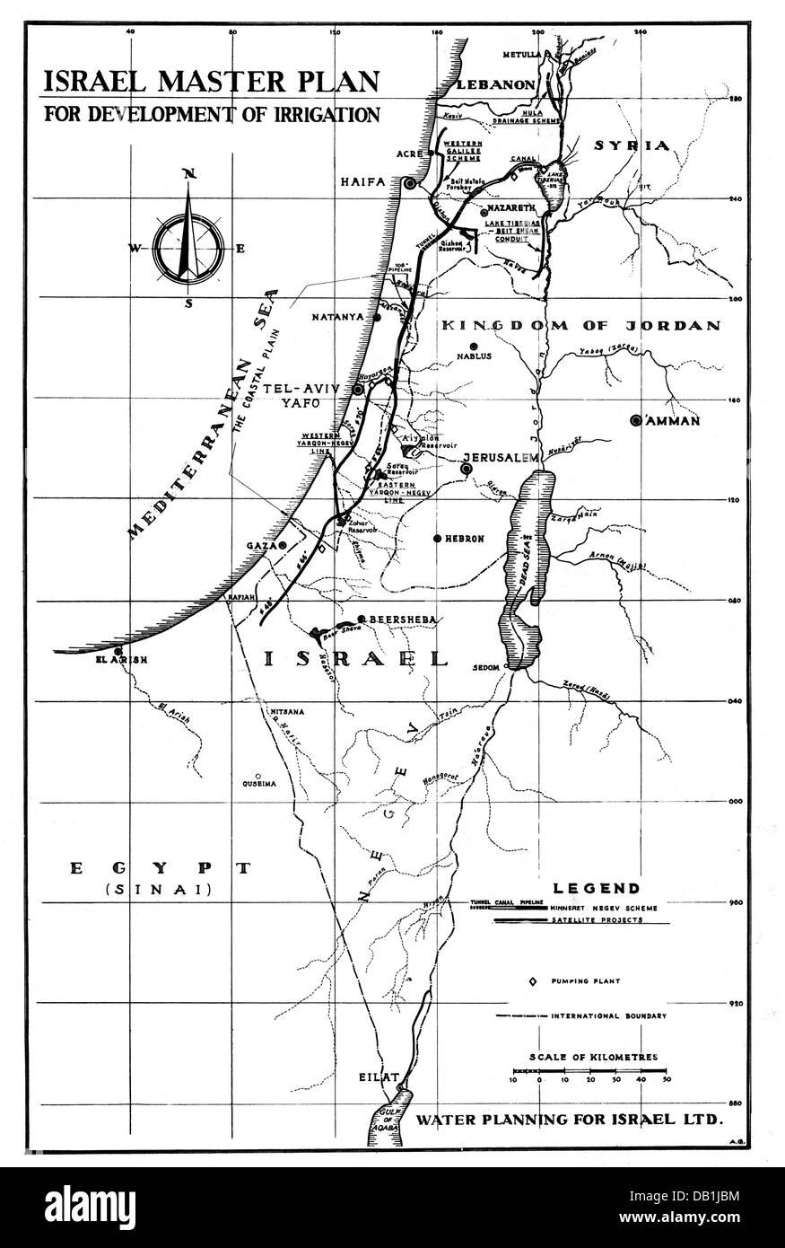 Geographie/Reisen, Israel, Landwirtschaft, Konzept für den Bau von Wasserleitungen für die Bewässerung, Stockbild