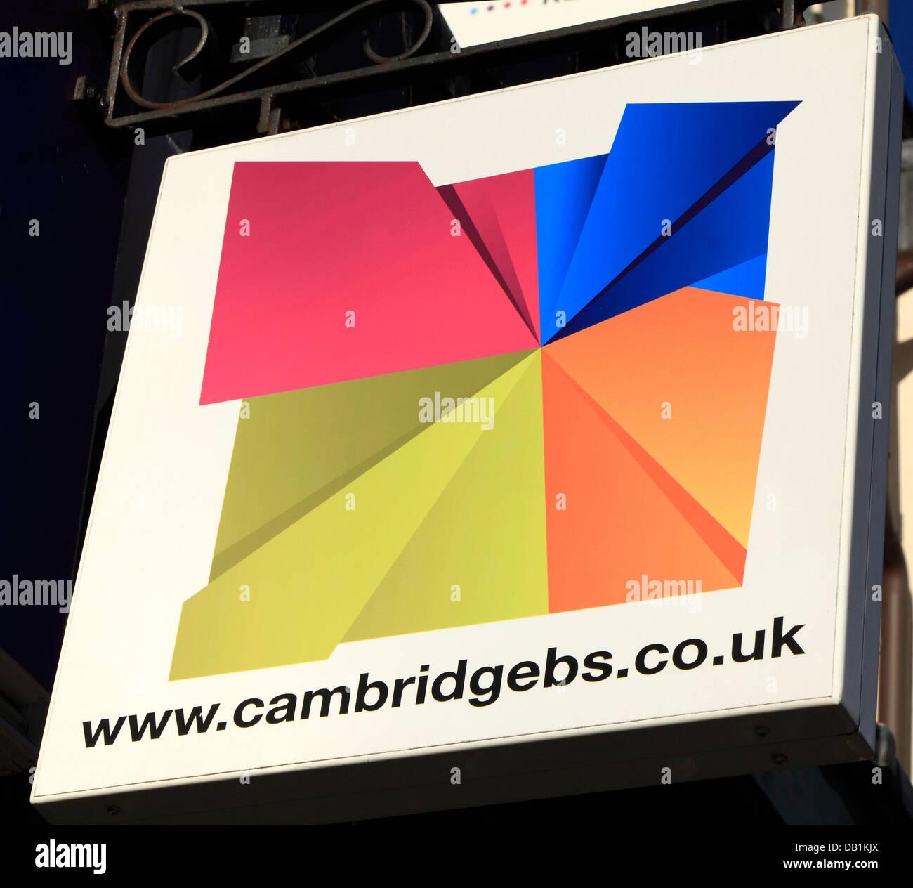 Cambridge-Bausparkasse, Schilder, Logo, englische Bausparkassen England UK Zeichen logos Stockbild