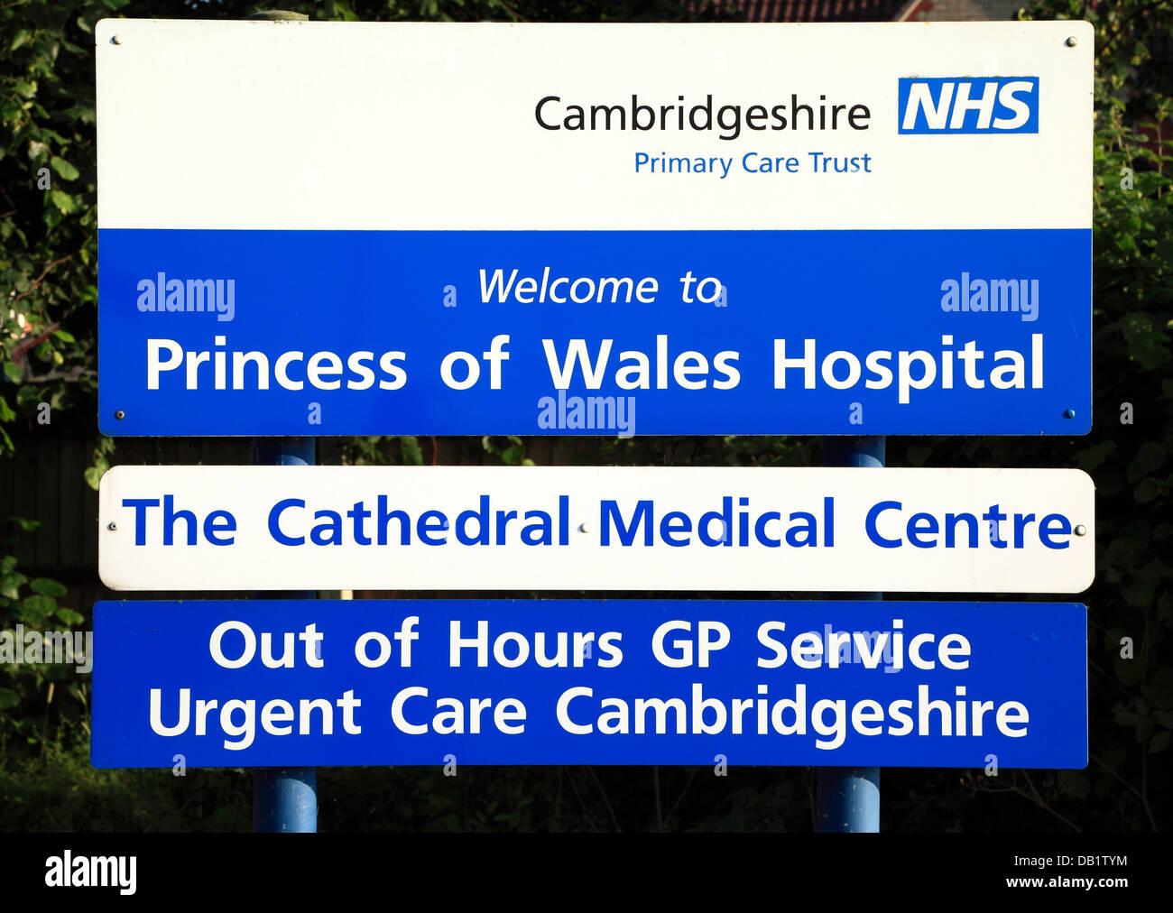 Ely, Princess of Wales Hospital, Zeichen, Cambridgeshire NHS, Primary Care Trust, Kathedrale Medical Centre England Stockbild