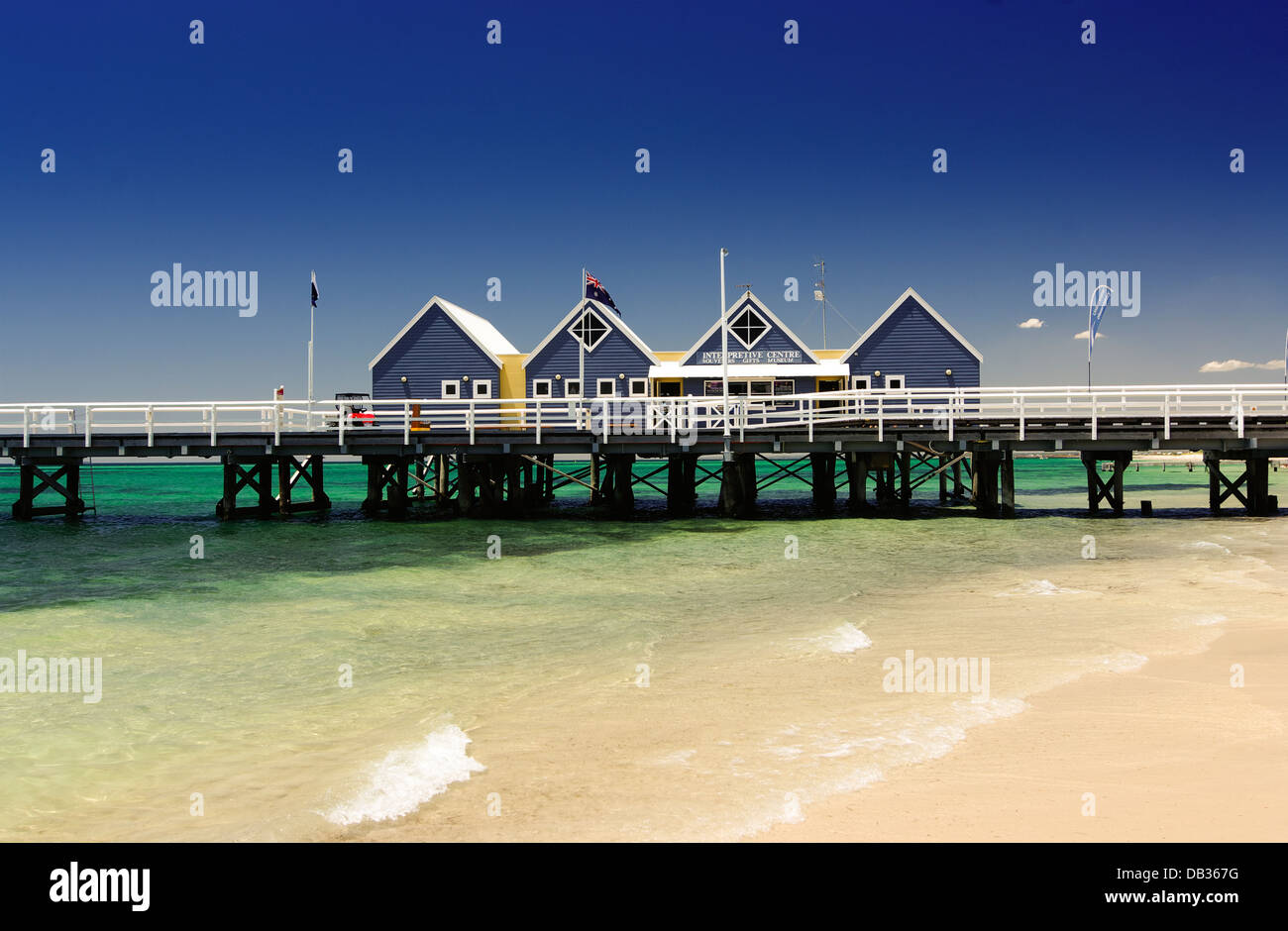 Die Gebäude auf Busselton Pier, Busselton, Western Australia Stockbild