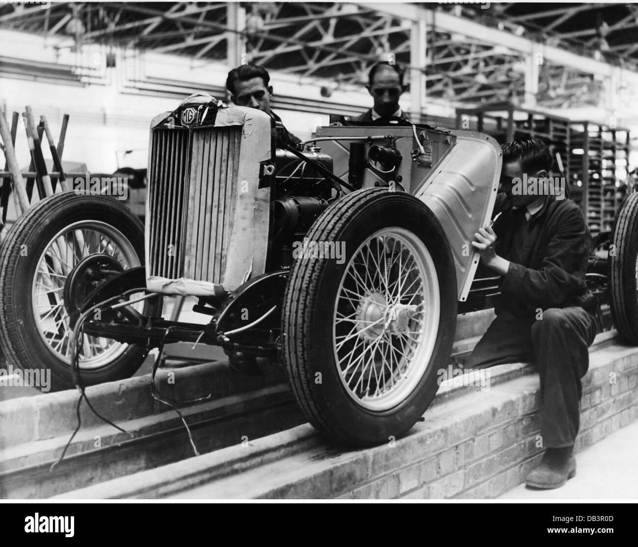 Industrie, Automobilindustrie, die Produktion der ersten MG Midget nach dem zweiten Weltkrieg, 1940, Großbritannien, Stockbild