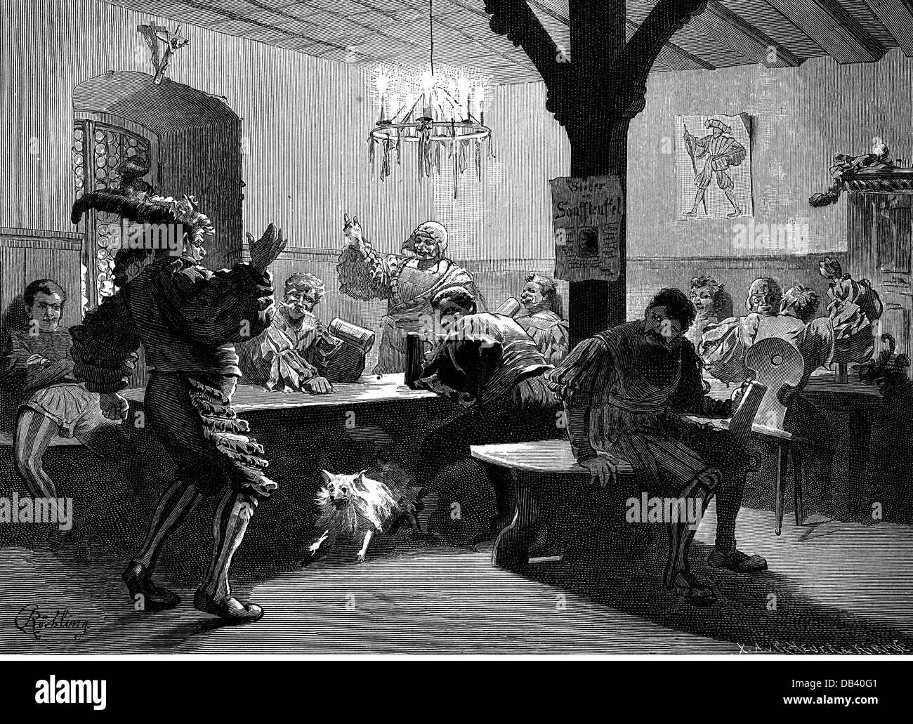 Gastronomie-Gaststätten feiern in Taverne mit Getränke und Spiele ...